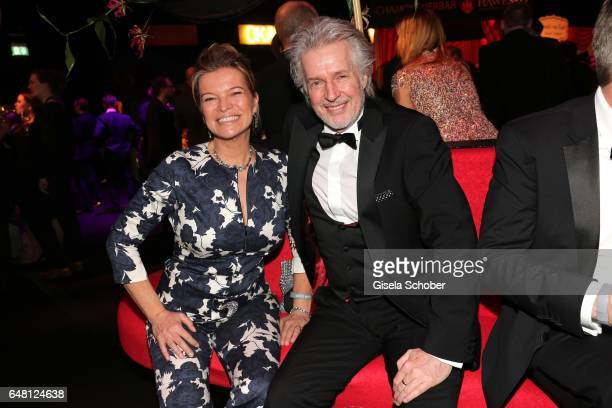 Frank Schaetzing, autor 'Der Sturm' and his wife Sabina Valkieser during the Goldene Kamera after show party at Messe Hamburg on March 4, 2017 in...