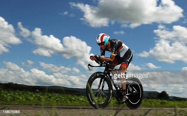 Frank Schleck of Luxembourg and Radioshack-Nissan in action during stage nine of the 2012 Tour de France, a 41.5km individual time trial, from...