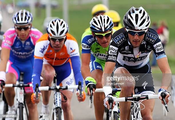 Frank Schleck of Luxembourg and Team Saxobank rides in the breakaway group during the 74th Fleche Wallonne Race on April 21 2010 in Huy Belgium