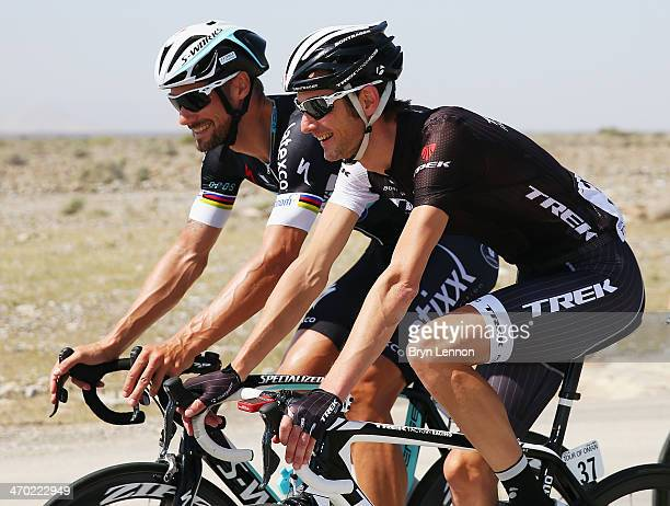 Frank Schleck of Luxembourg and Trek Factory Racing rides with Tom Boonen of Belgium and Omega PharmaQuicStep on stage one of the Tour of Oman from...