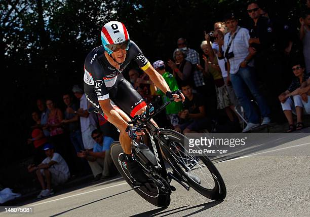 Frank Schleck of Luxemburg races to 44th place in the individual time trial in stage nine of the 2012 Tour de France from Arc-et-Senans to Besancon...