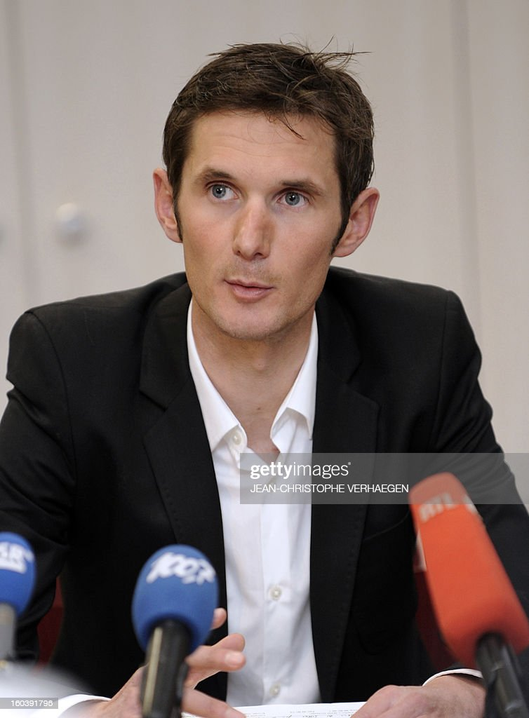 Frank Schleck, tested positive for a diuretic (Xipamide) on the Tour de France 2012, attends a press conference after the decision of the Luxembourg Anti-Doping Agency (Agence Luxembourgeoise Antidopage - ALAD), on January 30, 2013 in Luxembourg. Schleck was banned for one year by Luxembourg's anti-doping body (ALAD) on Wednesday for failing a drugs test on last year's Tour de France, the body's president Robert Schuller announced. CHRISTOPHE VERHAEGEN