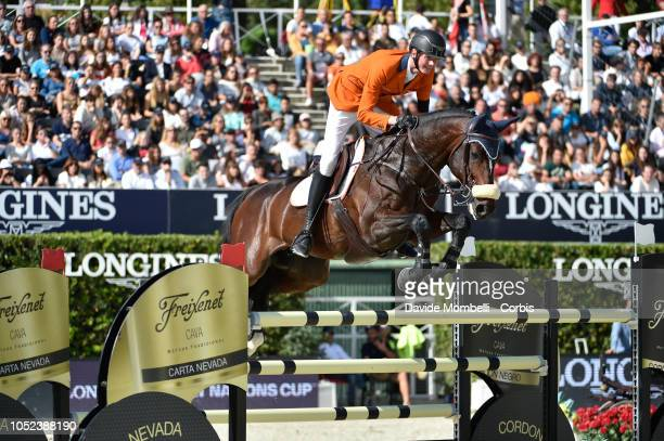 Frank Schuttert of Netherlands riding Chianti's Champion during Longines FEI Jumping Nations Cup Final Competition on October 7 2018 in Barcelona...