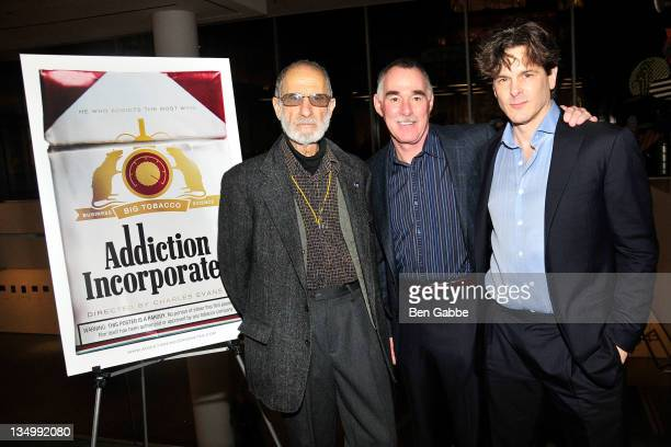 Frank Serpico research scientist Victor DeNoble and director Charles Evans Jr attend the Addiction Incorporated screening at the Celeste Bartos...