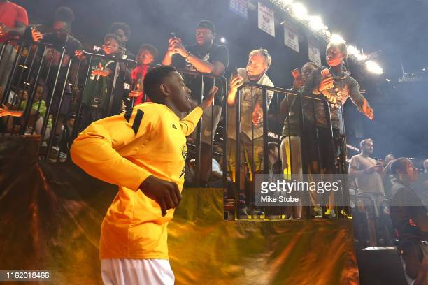 Frank Session of Killer 3s is introduced before the game against Trilogy during week four of the BIG3 three-on-three basketball league at Barclays...