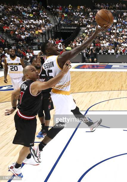 Frank Session of Killer 3s shoots against Carlos Arroyo of Trilogy during week four of the BIG3 three-on-three basketball league at Barclays Center...