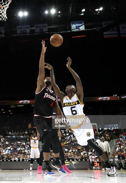 Frank Session of Killer 3s shoots against Sam Young of Trilogy during week four of the BIG3 three-on-three basketball league at Barclays Center on...