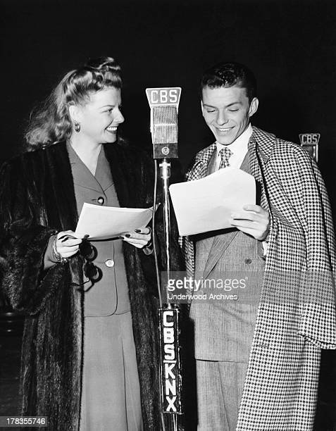 Frank Sinatra and Ann Sheridan doing a CBS broadcast together Hollywood California c 1951