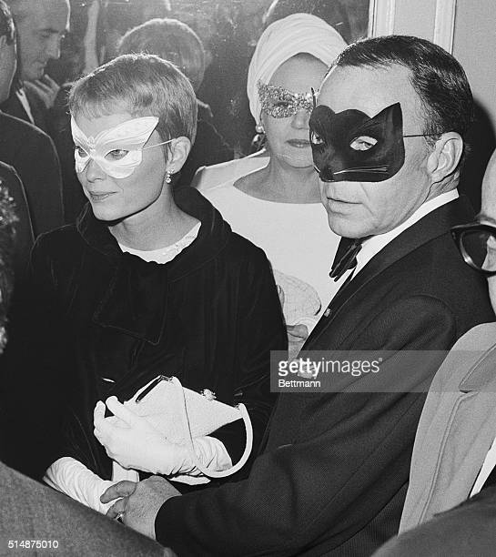Frank Sinatra and his wife actress Mia Farrow as they arrive at Truman Capote's Black and White Ball