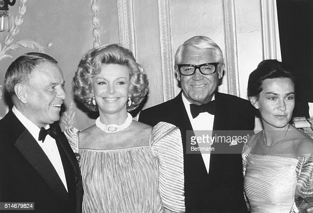 """Frank Sinatra and his wife, Barbara; Cary Grant and his wife, Barbara, after Grant was honored as """"Man of the Year"""" at The Friars Club testimonial..."""