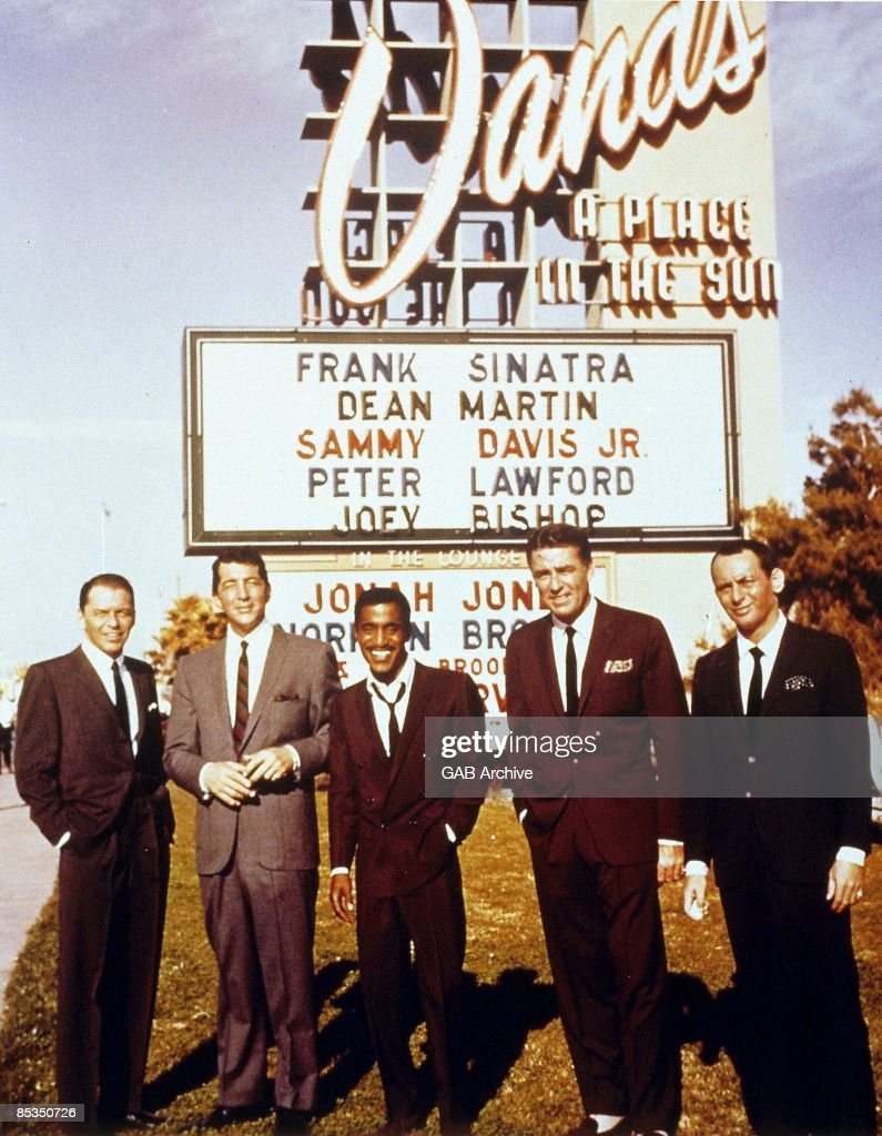 "Frank Sinatra, Dean Martin, Sammy Davis Jnr, Peter Lawford, Joey Bishop - posed outside Sands Casino, Las Vegas, 1960 at ""Summit At Sands"", : News Photo"