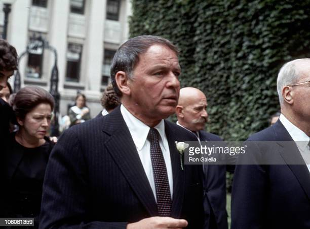 Frank Sinatra during Funeral Services for Bennett Cerf at 5th Avenue Chapel in New York City New York United States