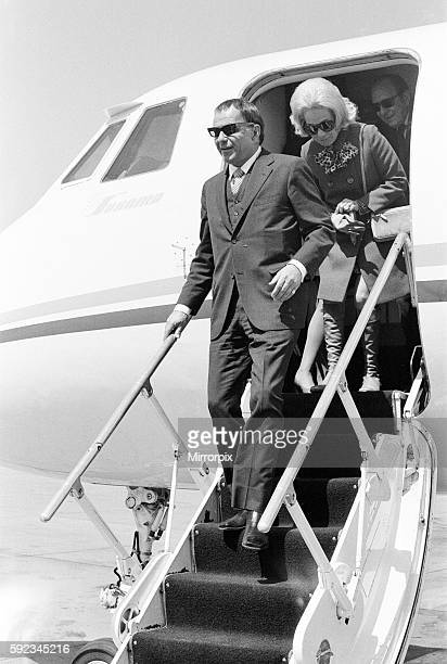 Frank Sinatra flies into London Gatwick Airport on his personal Gulf stream jet Monday 4th May 1970 Also pictured daughter Nancy Sinatra