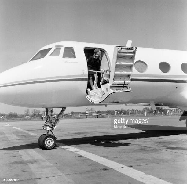 Frank Sinatra flies into London Gatwick Airport on his personal Gulf stream jet Monday 4th May 1970 Pictured Stewardess Hannelori Kauspe aged 27