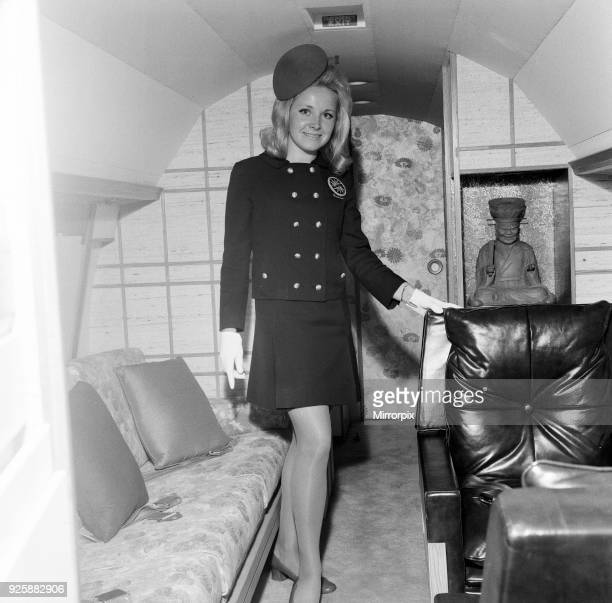 Frank Sinatra flies into London Gatwick Airport on his personal Gulf stream jet Monday 4th May 1970 Pictured Interior of plane and Stewardess...