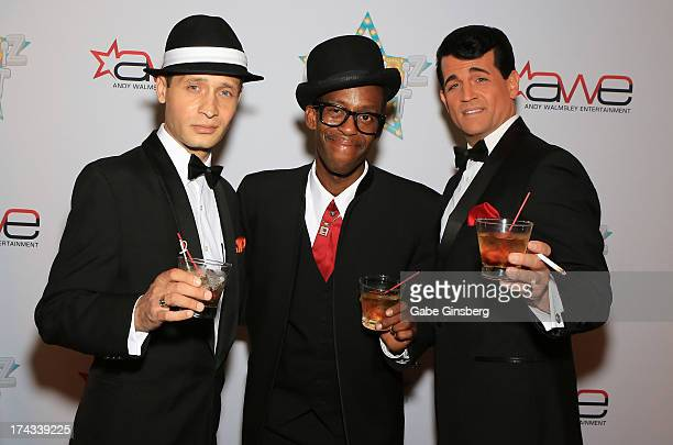 Frank Sinatra impersonator David De Costa Sammy Davis Jr impersonator Doug Stark and Dean Martin impersonator Johnny Edwards arrive at the 'Showbiz...