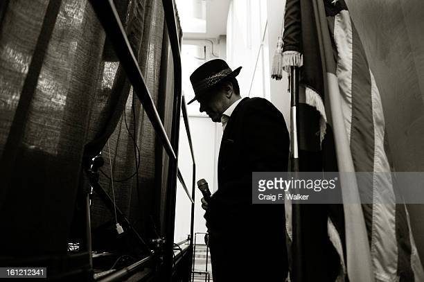 Frank Sinatra impersonator, Derek Evilsizor waits backstage before performing at the 22nd Annual Salute to Senior, presented by the Colorado...