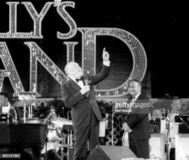 Frank Sinatra Jerry Lewis and Sammy Davis Jr perform on October 8 1987 at the Golden Nugget in Atlantic City New Jersey
