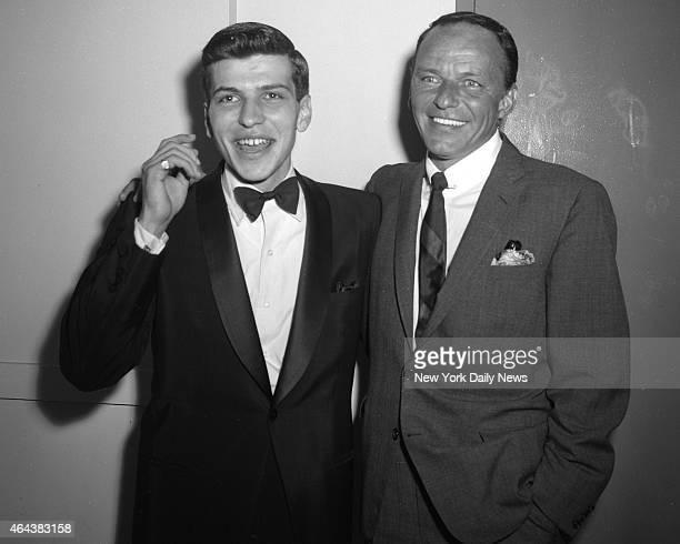 Frank Sinatra Jr and Frank Sinatra Sr at the Hotel Americana following Jr's performance at 'The Royal Box' at the hotel