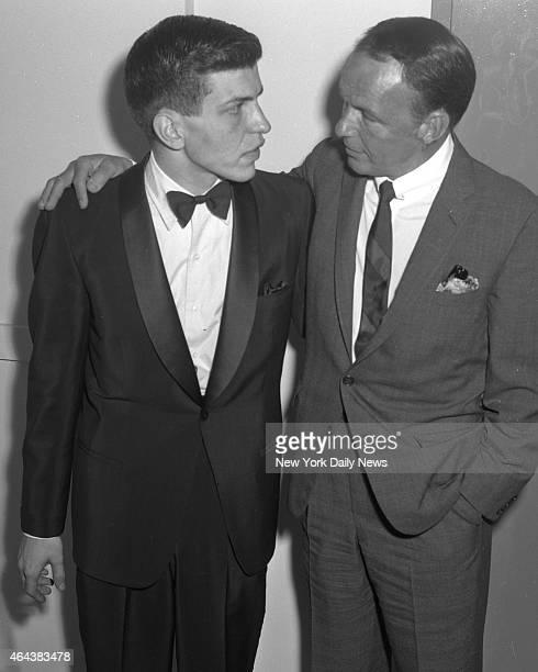 Frank Sinatra Jr and Frank Sinatra Sr at the Hotel Americana following Jr's performance at The Royal Box at the hotel