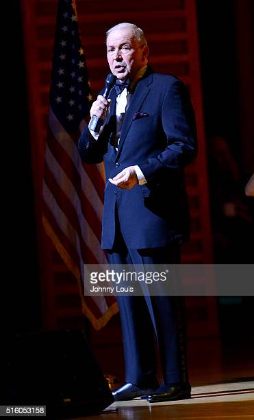 Frank Sinatra Jr performs during the Jazz Roots Frank Sinatra Jr Sings Sinatra a Multimedia Centennial Celebration at the Knight Concert Hall within...