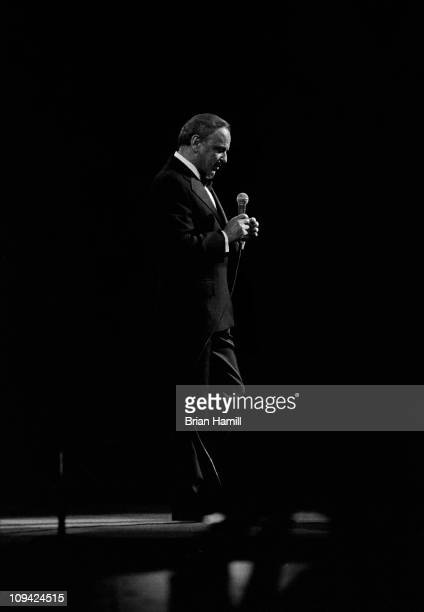 Frank Sinatra performing on stage at Madison Square Garden during a 'Rally for Hugh Carey' concert New York City November 1 1974