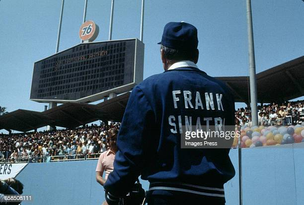 Frank Sinatra visits Dodgers Stadium circa 1977 in Los Angeles California
