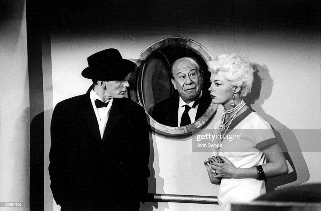 Frank Sinatra (L) w. Bert Lahr & Sheree North in scene for musical Anything Goes, presented on TV show The Colgate Comedy Hour.