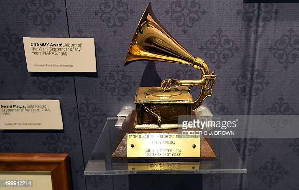 Frank Sinatra's 1965 Grammy Award fro Album of the Year is displayed at the Grammy Museum in Los Angeles on November 30 2015 The 'Sinatra An American...