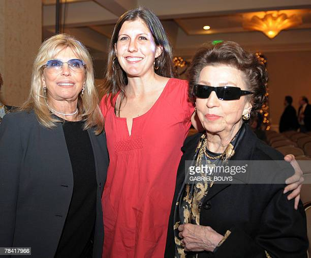 Frank Sinatra's daughter Nancy granddauther Tina and first wife Nancy Barbato pose after the unveiling ceremony of the new United States Postal...