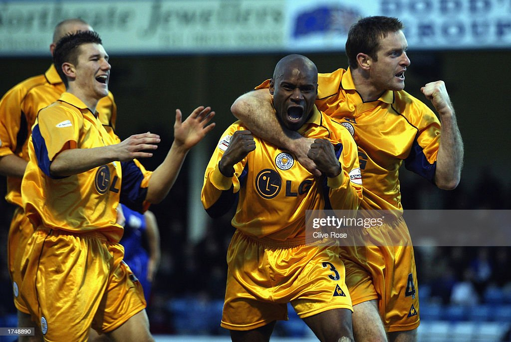 Frank Sinclair of Leicester City celebrates his goal with team-mates during the Nationwide League Division One match between Gillingham and Leicester City held on January 18, 2003 at the Priestfield Stadium, in Gillingham, England. Gillingham won the match 3-2.