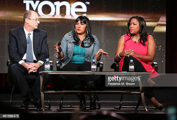 Frank Sinton Executive Producer actress Pam Grier and D'Angela Proctor SVP Programming and Production TV One speak onstage during the 'Unsung...