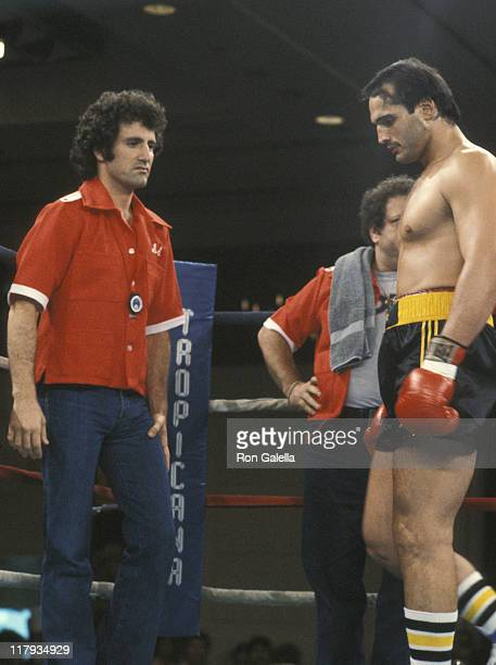 Frank Stallone And Lee Canaloti during Lee Canalito Vs Curtis Whitner Boxing Match at Tropicana Hotel Casino in Atlantic City New Jersey United States