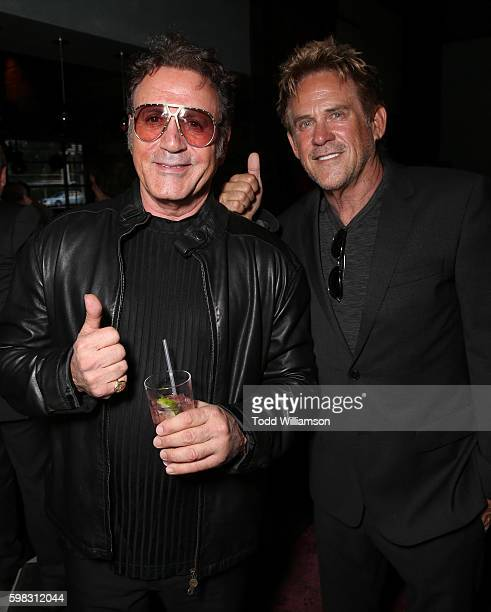Frank Stallone and Michael Dudikoff attend the premiere Of RLJ Entertainment's 'Kickboxer Vengeance' at iPic Theaters on August 31 2016 in Los...