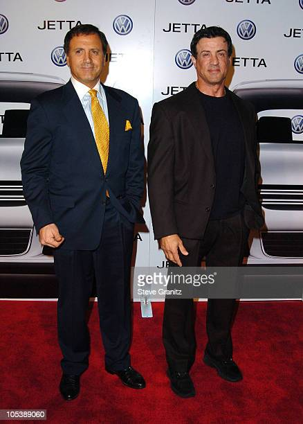 Frank Stallone and Sylvester Stallone during 2005 Volkswagen Jetta Premiere Party Arrivals at The Lot in West Hollywood California United States