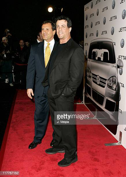 Frank Stallone and Sylvester Stallone during 2005 Volkswagen Jetta Premiere Party Red Carpet at The Lot in West Hollywood California United States