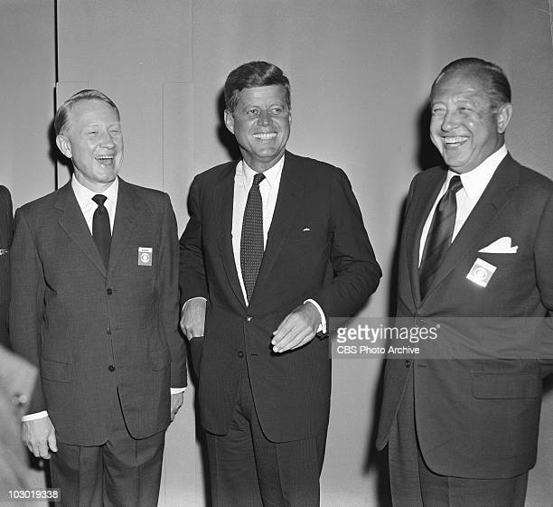 Frank Stanton left John F Kennedy center and William Paley at the first televised presidential debate between John F Kennedy and Richard M Nixon