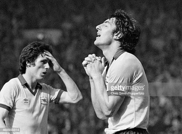 Frank Stapleton and Brian Talbot of Arsenal show their relief after Alan Sunderland had scored Arsenal's winning goal during the FA Cup Final between...