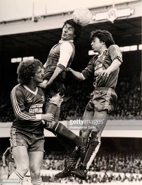 Frank Stapleton of Arsenal Billy Ashcroft and Irving Nattrass in action during the League Division One match between Arsenal and Middlesbrough at...