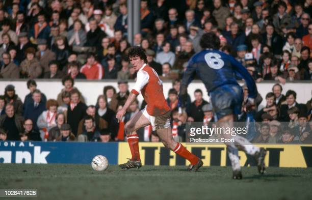 Frank Stapleton of Arsenal in action during the Football League Division One match between Arsenal and Middlesbrough at Highbury on February 28 1981...