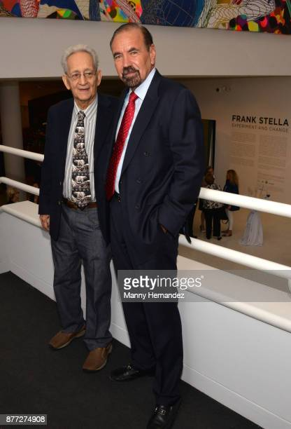 Frank Stella and Jorge Perez at the Frank Stella Experiment and Change exhibit opening at the NSU Art Museum Fort Lauderdale on November 12 2017 in...