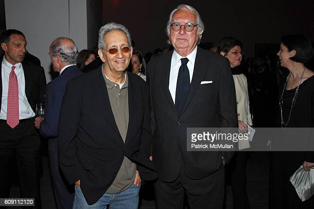 Frank Stella and Richard Meier attend Dinner for RICHARD SERRA SCULPTURE FORTY YEARS Hosted by MoMA and LVMH at The Museum of Modern Art on May 29...