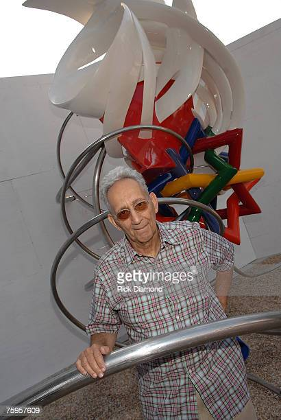 Frank Stella Artist Standing in front of his art work which will be displayed at The Streets of Buckhead on August 3 2007 in Buckhead Georgia