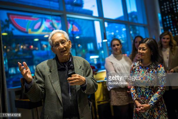Frank Stella speaks during the reception for his mural reproduction of his 1970 painting Damascus Gate along Seaport Boulevard while at Yotel Boston...