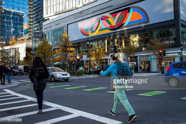 Frank Stella's mural reproduction of his 1970 painting Damascus Gate is seen along Seaport Boulevard in Boston on Oct 24 2019