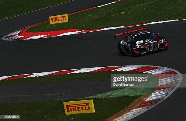 Frank Stippler of Germany drives the Belgian Audi Club Team WRT Audi R8 LMS Ultra during the Blancpain Endurance GT Series race at the Silverstone...
