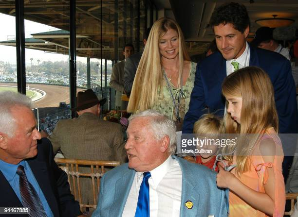 Frank Stronach with Merv Griffin and Merv's daughter in law Tricia son Tony grandson Donovan Mervyn and granddaughter Farah