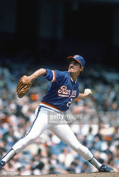 Frank Tanana of the Texas Rangers pitches against the New York Yankees during an Major League Baseball game circa 1985 at Yankee Stadium in the Bronx...