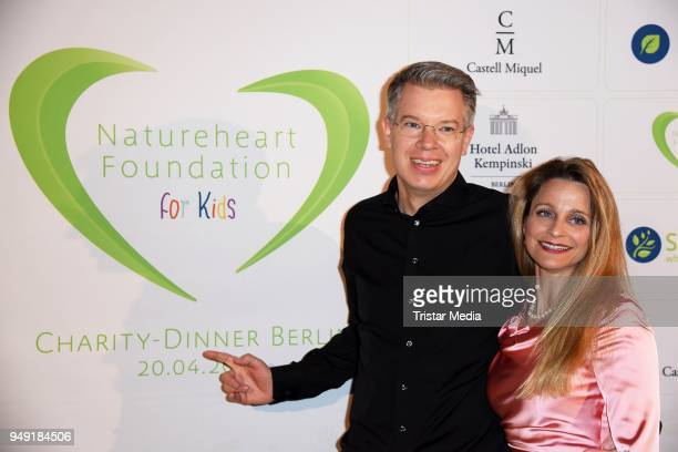 Frank Thelen and his wife Nathalie ThelenSattler attend the Leon Heart Foundation Charity Dinner at Hotel Adlon Kempinski on April 20 2018 in Berlin...