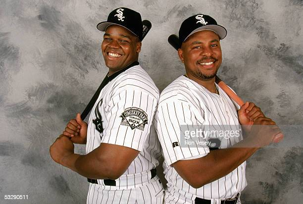 Frank Thomas and Albert Belle of the Chicago White Sox pose for a portrait on February 24 1997 during Spring Training
